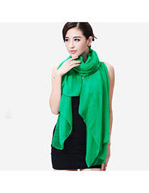 Simplicity Green Pure Color Decorated Simple Design Chiffon Thin Scaves