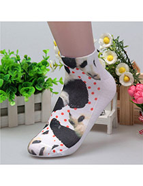 Retro White+black Panda &dots Pattern Decorated 3d Effect Design  Spandex Fashion Socks