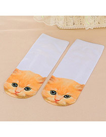 Retro Light Brown Cat Pattern Decorated 3d Effect Design  Spandex Fashion Socks