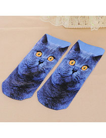Retro Blue Cat Pattern Decorated 3d Effect Design  Spandex Fashion Socks