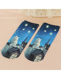 Retro Blue+white Cat&star Pattern Decorated 3d Effect Design  Spandex Fashion Socks