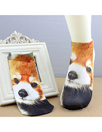 Retro Brown Raccoon Pattern Decorated 3d Effect Design  Spandex Fashion Socks