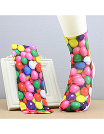 Retro Multicolor Candy Pattern Decorated 3d Effect Design  Spandex Fashion Socks