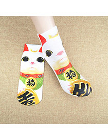 Retro Multicolor Cat Pattern Decorated 3d Effect Design  Spandex Fashion Socks