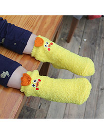 Lovely Yellow Cartoon Chicken Pattern Decorated Simple Design For Kids  Coral Velvet Fashion Socks