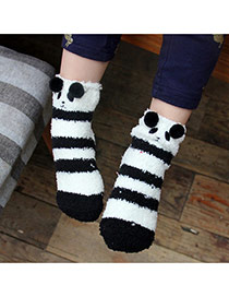 Lovely Black+white Cartoon Panda Pattern Decorated Simple Design For Kids  Coral Velvet Fashion Socks