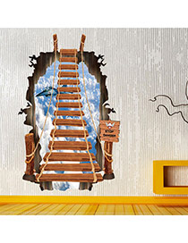 Creative Multicolor 3d Stairs&airplane Pattern Simple Design Wall Sticker  Pvc Household goods