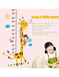 Creative Multicolor Giraffe Pattern Height Ruler Removable Wall Sticker  Pvc Household goods