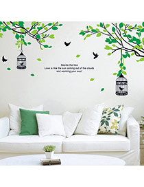 Creative Black+green Tree&birdcage Removable Design Wall Sticker  Pvc Household goods