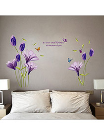 Creative Purple Flower&butterfly Pattern Simple Design Wall Sticker