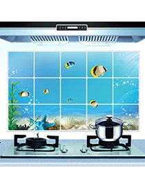 Creative Blue Fish Pattern Removable Anti-oil Paste Wall Sticker  Pvc Household goods