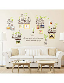 Creative Multicolor Bottle&photo Frame Pattern Removable Design Wall Sticker  Pvc Household goods