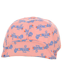 Cute Pink+blue Aircraft Pattern Decorated Pure Color Design  Canvas Children's Hats