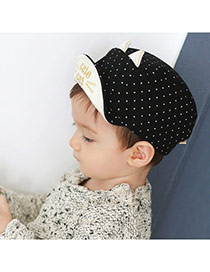 Cute Black Dot&ears Decorated Pure Color Design  Canvas Children's Hats
