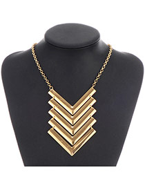 Fashion Gold Color V Shape Decorated Multilayer Design