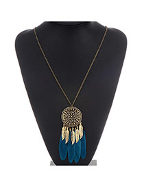 Retro Green Round Pendant Decorated Feather Tassel Design Alloy Chains