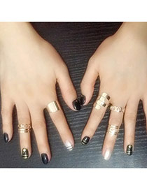 Retro Gold Color Geometrical Shape Simple Design(5pcs)  Alloy Korean Rings