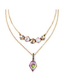 Exquisite Multi-color Geometrical Shape Pendant Decorated Double Layer Design Alloy Bib Necklaces