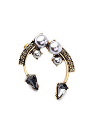 Exquisite Black Diamond & Pearl Decorated Open Design Alloy