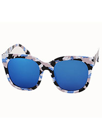 Simplicity Blue Square Frame Decorated Simple Design  Plastic Women Sunglasses