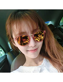 Fashion Red Transparency Frame Decorated Round Shape Design