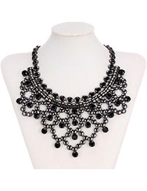 Retro Black Round Shape Decorated Hollow Out Collar Design Alloy Bib Necklaces