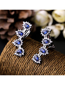 Cute Blue Waterdrop Diamond Decorated Simple Design Alloy
