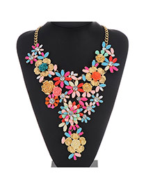 Luxury Plum Red Flower Shape Decorated Multilayer Design Alloy Bib Necklaces