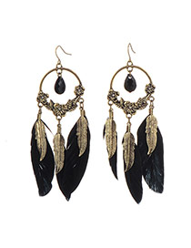 Retro Black Leaf Decorated Three Feather Pendant Design Alloy Korean Earrings