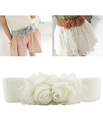 Elegant Beige Double Flower Decorated Pure Color Design  Leather Wide belts