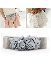 Elegant Gray Double Flower Decorated Pure Color Design  Leather Wide belts