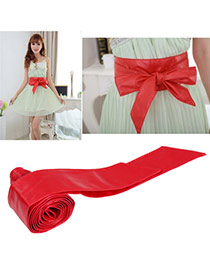 Fashion Red Pure Color Swallow Tail Shape Design  Leather Wide belts