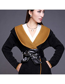 Fashion Black Pure Color Swallow Tail Shape Design  Leather Wide belts
