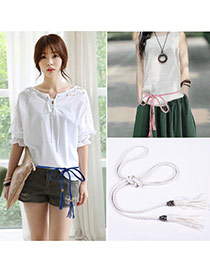 Retro White Rope Weave Pure Color Taseel Pendant Design  Alloy Thin belts