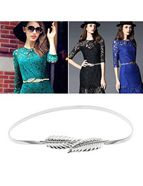 Retro Silver Color Leaf Shape Decorated Pure Color Design  Alloy Thin belts
