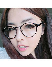 Pretty Dark Brown Oval Shape Frame Decorated Thin Leg Design Plastic Fashon Glasses