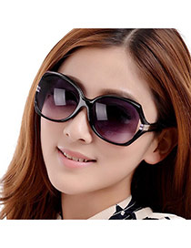 Fashion Black Metal Decorated Gradual Change Design Plastic Women Sunglasses