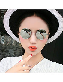 Fashion Silver Color Round Shape Frame Decorated Thin Leg Design  Alloy Women Sunglasses