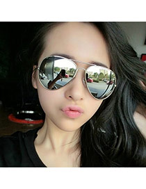 Fashion Silver Color Panda Eyes Shape Frame Decorated Simple Design Alloy