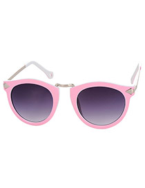 Fashion Pink Candy Color Decorated Arrow Leg Design Alloy Women Sunglasses