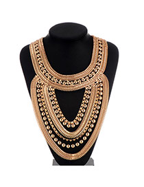 Fashion Gold Color Beads Decorated Multilayer Design