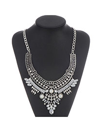 Retro Silver Color Geometric Shape Decorated Hollow Out Design Alloy Bib Necklaces