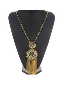 Retro Gold Color Round Pendant Decorated Tassel Design