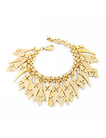 Fashion Gold Color Geometry Shape Decorated Hollow Out Design Alloy