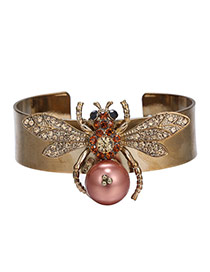 Retro Bronze Insect Shape Decorated Opening Design Alloy Fashion Bangles
