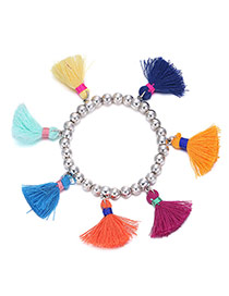 Personality Silver Color Beads Decorated Tassel Design Acrylic Fashion Bracelets