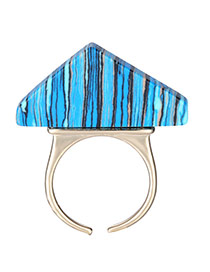 Retro Blue Geometry Shape Opening Design Alloy Fashion Rings