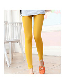 Fashion Yellow Cat Pattern Decorated Color Matching Design  Cotton Trousers