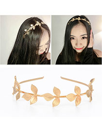 Retro Gold Color Leaf Shape Decorated Simple Design  Alloy Hair band hair hoop