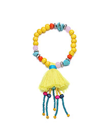 Fashion Yellow Tassel Pendant Decorated Beads Chain Design  Alloy Fashion Bracelets